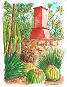Urban  Drawings Paintings - Chimney-at-The-Arboretum-Arcadia-CA by Carlos G Groppa