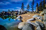 Chimney Posters - Chimney Beach Lake Tahoe Poster by Scott McGuire