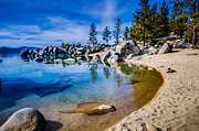 Landscape Picture Framed Prints - Chimney Beach Lake Tahoe Shoreline Framed Print by Scott McGuire
