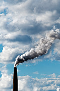 Co2 Metal Prints - Chimney exhaust waste amount of CO2 into the atmosphere Metal Print by Ulrich Schade