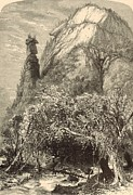 Chimney Rock State Park Prints - Chimney Rock at Hickory-Nut Gap 1872 Engraving Print by Antique Engravings