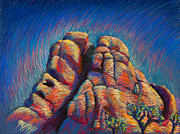 Climbing Pastels Posters - Chimney Rock Joshua Tree Poster by Mark Webster