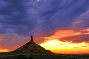 Chimney Framed Prints - Chimney Rock Nebraska Framed Print by Olivier Le Queinec