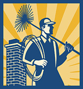 Chimney Framed Prints - Chimney Sweeper Cleaner Worker Retro Framed Print by Aloysius Patrimonio