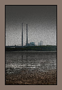 Chimneys Digital Art Framed Prints - Chimneys of Ringsend Power-station across Dublin Bay. Framed Print by Frank Gaffney