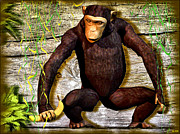 Chimpanzee Digital Art Prints - Chimp with a Banana Print by Daniel Janda