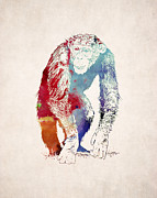 Chimpanzee Digital Art Prints - Chimpanzee Drawing - Design Print by World Art Prints And Designs