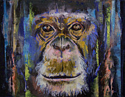 Mono Color Posters - Chimpanzee Poster by Michael Creese