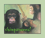 Kids Prints Pastels Framed Prints - Chimpanzees Framed Print by Brooks Garten Hauschild