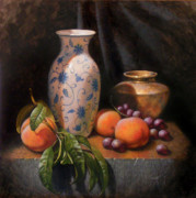 Grapes Paintings - China Brass and Peaches by Timothy Jones