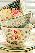 Tea Time Prints - China Cups Print by Colleen Kammerer