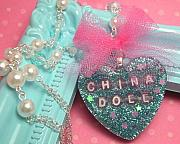 Teal Jewelry - China Doll - Resin Heart Pendant by Razz Ace
