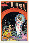 Stencil Framed Prints - China Framed Print by Georges Barbier