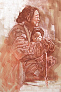 Sepia Pastels Prints - China Mother Print by Leslie B DeMille