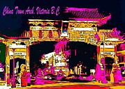 Victoria Paintings - China Town Arch Victoria British Columbia Canada by John Malone