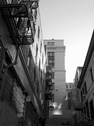 Intrigue Prints - Chinatown Alley San Francisco in True BW Print by Connie Fox