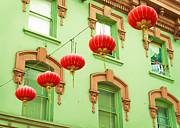 Red And Green Photo Framed Prints - Chinatown Lanterns Framed Print by Sonja Quintero