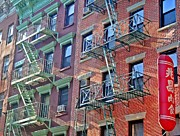 Nyc Fire Escapes Framed Prints - Chinatown Living Framed Print by Tony Ambrosio