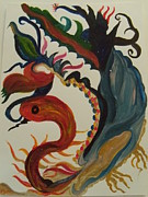 Oriental Style Paintings - Chineese Dragon by Judy Dow