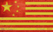 American Flag Mixed Media Prints - Chinese American Flag Print by Tony Rubino