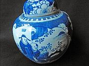Antique Ceramics - Chinese blue and white ginger jar with 2 panels featuring a figural design by Chinese ceramic artist