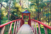 Australian Bush Prints - Chinese Bridge Wandiligong Print by Linda Lees