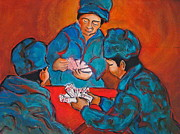 Playing Painting Originals - Chinese Card players by Myra Evans