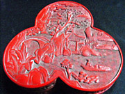 The Trees Mixed Media Originals - Chinese cinnabar trefoil container by Anonymous