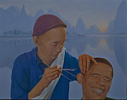 Barack Obama Painting Posters - Chinese Citizen Barack Obama on the ear scops Poster by Tu Guohong