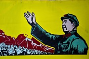 Leftist Framed Prints - Chinese communist propaganda poster art with Mao Zedong Framed Print by Imran Ahmed