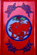 Lacquer Photos - Chinese Dragon on Red Door by Anna Lisa Yoder