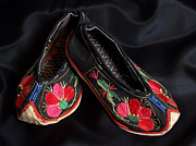 Sewn Framed Prints - Chinese Embroidered Baby Shoes Framed Print by Anna Lisa Yoder