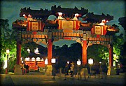 Night Scenes Digital Art Framed Prints - Chinese Entrance Arch Framed Print by John Malone