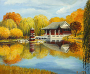 Tea House Prints - Chinese Garden in Berlin Print by Kiril Stanchev