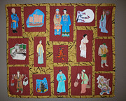 Quilts Tapestries - Textiles Metal Prints - Chinese Heritage Metal Print by Linda Egland