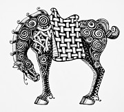 Basket Drawings Posters - Chinese Horse - Zentangle Poster by Jani Freimann