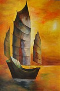 Fishing Enthusiast Art - Chinese Junk In Ochre by Tracey Harrington-Simpson