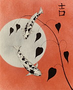 Sakana Posters - Chinese Koi red good luck  Poster by Gordon Lavender