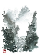 Chinese Watercolor Paintings - Chinese Landscape -MistyValley by Sean Seal