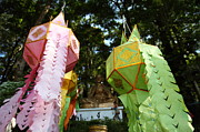 Chinese Framed Prints - Chinese Lanterns - Wat Phrathat Doi Suthep - Chiang Mai Thailand - 01133 Framed Print by DC Photographer