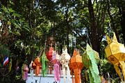 Chinese Photo Prints - Chinese Lanterns - Wat Phrathat Doi Suthep - Chiang Mai Thailand - 01134 Print by DC Photographer