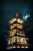 Halifax Photography Halifax Nova Scotia Posters - Chinese Pagoda at Night with Full Moon Poster by John Malone