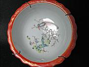 Antique Ceramics - Chinese porcelain bowl decorated with phoenix bird on a blooming tree branch by Ceramic artist