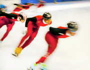 Skates Prints - Chinese Short Track  Print by Theresa Tahara