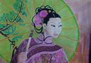 Umbrella Pastels Framed Prints - Chinese Spring Framed Print by Serran Dalmak