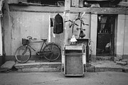 Drying Laundry Posters - Chinese Still Life with Bicycles and Laundry Poster by Dean Harte