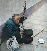 China Pastels Framed Prints - Chinese Street Musician Framed Print by Marion Derrett