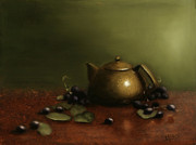 Olive Green Painting Prints - Chinese Tea Kettle Print by Christy Olsen