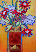 Diane Fine Mixed Media Framed Prints - Chinese Vase Framed Print by Diane Fine