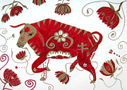 Bulls Drawings Prints - Chinese Year of the Ox Print by Barbara Giordano